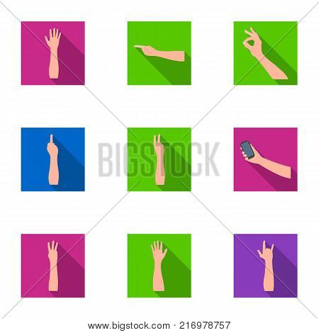Significance of gestures flat icons in set collection for design.The tongue of deaf mutes vector symbol stock  illustration.