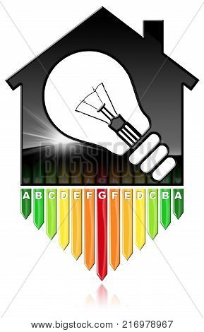 Energy Efficiency - 3D illustration of a symbol in the shape of house with energy efficiency rating and a light bulb. Isolated on white background