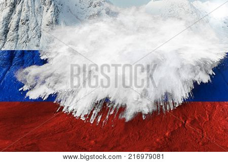 RUSSIA, 6 December 2017 - Metaphorical 3D rendering of Russia hopes destroyed after IOC bans country from 2018 South Korea Winter Olympics.