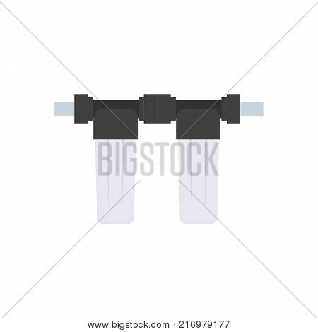 Detail for the scheme of water supply and purification of water from the well. Flat style. Two small empty glass bulb cartridge filter filter poster