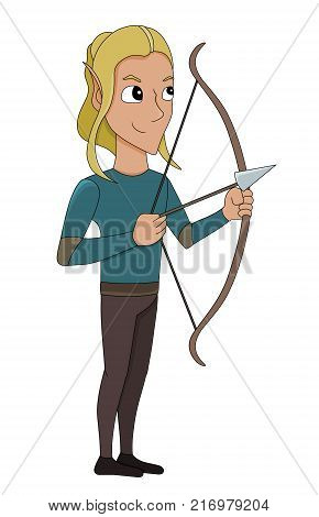 Illustration of an elf archer with a bow and an arrow isolated on a white background