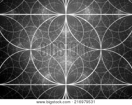 Symmetrical glowing fractal circles black and white texture computer generated abstract background 3D rendering