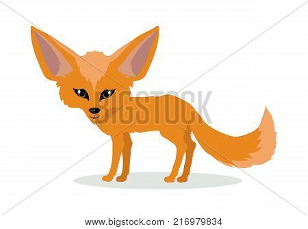 Fennec fox cartoon character. Cute red fennec fox flat vector isolated on white background. African fauna. Fennec icon. Wild animal illustration for zoo ad, nature concept, children book illustrating