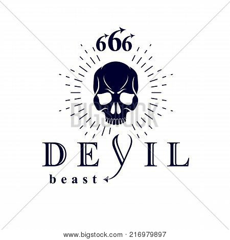 Vector black frightening dead head logo. Mystic infernal demon evil Lucifer made with 666 numbers.