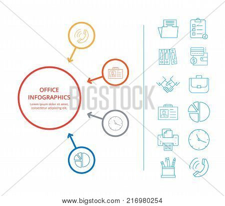 Office infographics business income constituent analysis with colorful diagram icons of money currencies and market forecasts vector illustration