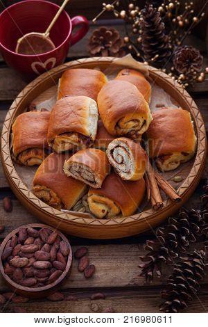 homemade cinnamon buns with chocolate - sweet food