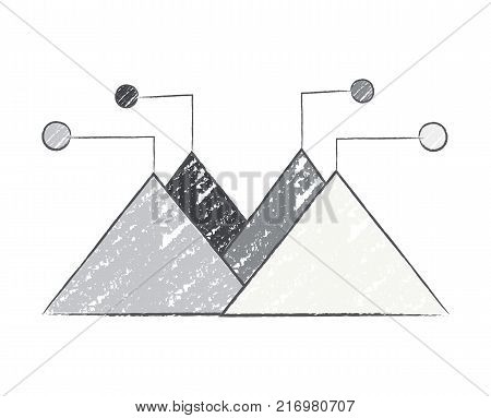 Triangles and circles, connected with lines, geometric infographic sample of grey colours represented on vector illustration isolated on white