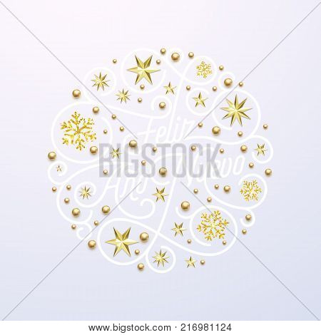 Feliz Ano Nuevo Spanish Happy New Year Navidad Calligraphy Lettering, Golden Snowflake Star Pattern