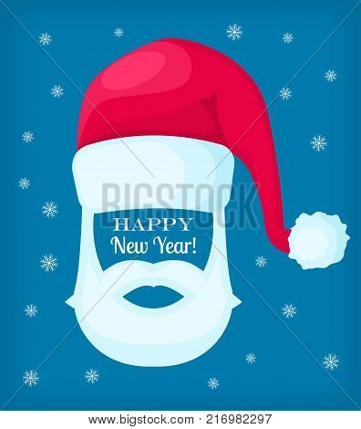 Happy New Year Santa Claus moustache, white beard and cap on blue background with snowflakes. Vector editable illustration with cartoon Christmas elements for festive design. Add your face
