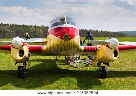 Plasy, Czech Republic - April 30: Aero 45 Version Of Aero 145 Twin-piston Engined Civil Utility Airc