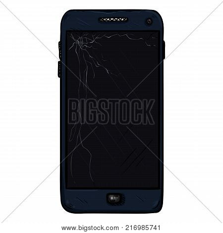 Vector Cartoon Scratched Dark Blue Smartphone with Broken Display