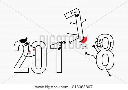 2018 flat line design concept for greeting card and banner. Funny cartoon interpretation to the outgoing 2017. black and white vector illustration isolated on white background