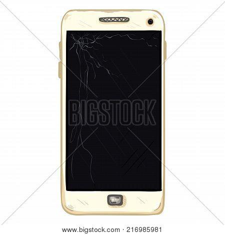 Vector Cartoon Scratched White Smartphone with Broken Display
