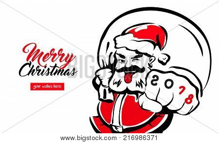 Hipster cool Santa Claus, greeting card 2018 place for your wishes. father christmas in red hat. Merry X-mas. The concept banner calendar postcard invitation. Vector illustration isolated.