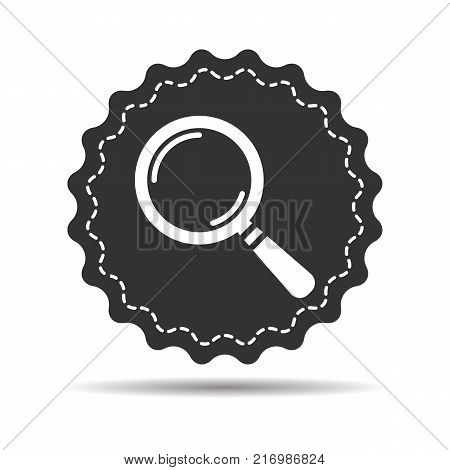 badge with search icon flat, search icon design, search icon web, vector magnifying glass