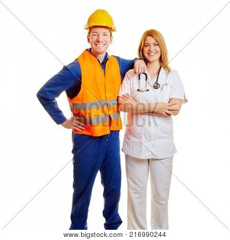Woman and man as construction worker and doctor smiling as a team
