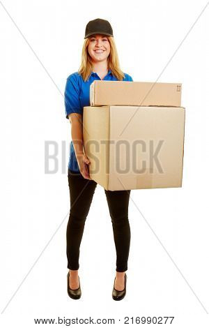 Woman holding packages as a mailman smiling on a white background