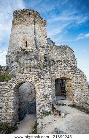 The Ruins Of A Medieval Castle Lietava On A Rocky Blade, Nearby