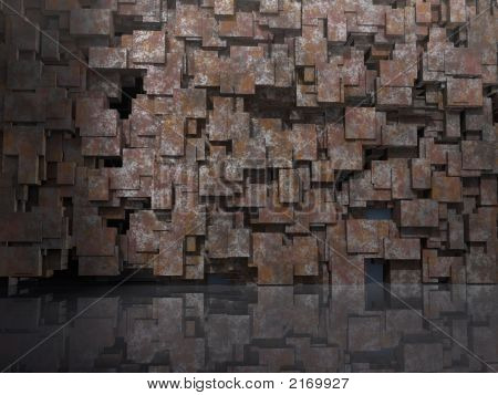 3D architectural Model for website background with cubic blocks of oxidated tarnished copper reflected in shiny floor poster