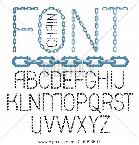 Set of vector English alphabet letters isolated. Capital decorative font created using chrome chain linkage.
