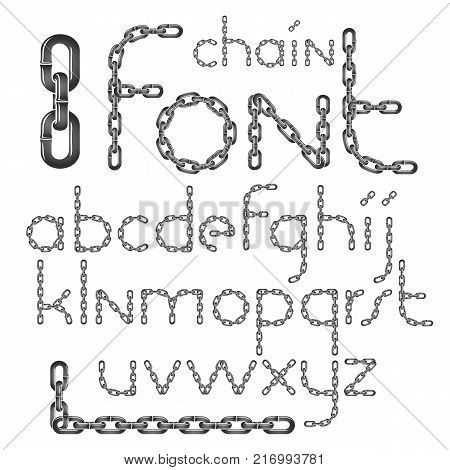 Vector English alphabet letters collection. Lower case decorative font created using connected chain link.