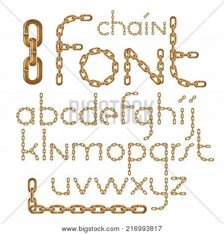 Vector English alphabet letters collection. Lower case creative font made with iron chain linked connection.