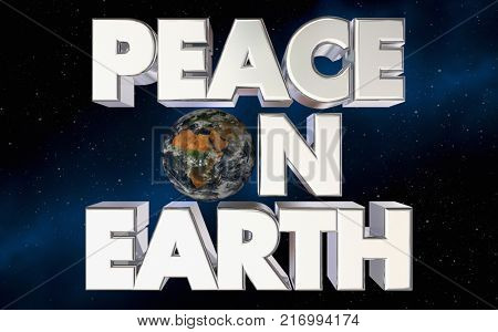 Peace on Earth Planet Words Harmony 3d Illustration