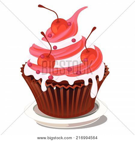 Sweet cupcake dessert in paper basket with whipped cream and pink berry topping with the decoration of ripe red juicy cherries isolated on a white background. Cartoon vector illustration close-up.