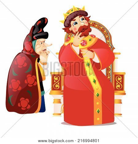 The old woman persuades the king to think. Characters of Russian folklore and folk tales isolated on white background. The gossip queen and snitch. Vector cartoon close-up illustration.