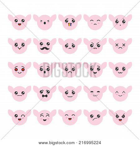 Cartoon kawaii emoticons set. Cute emoticon emoji characters in flat japanese style. Vector emotion smile cartoon, kawaii anime vector illustration
