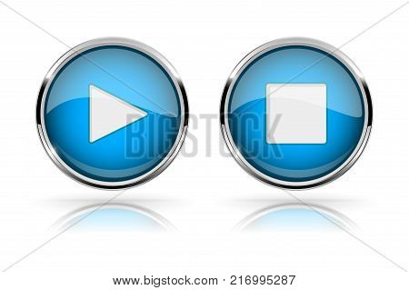 PLAY and STOP buttons. Blue round media buttons. Shiny icons with chrome frame. Vector 3d illustration on white background