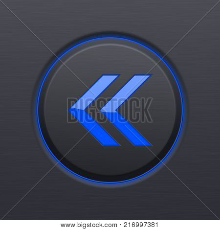 Previous button. Round blue arrow on black plastic background. Vector 3d illustration