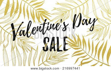 Valentine Day Greeting Card Design Template Of Golden Palm Leaf Pattern And Calligraphy Font Letteri