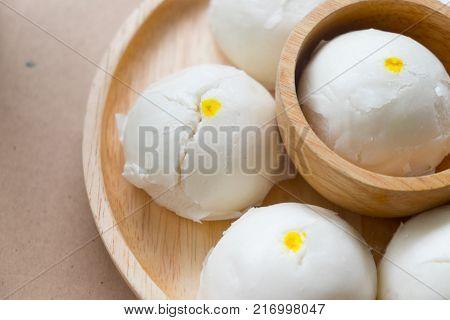Close up of inside steamed creamy custard bun