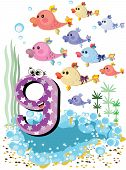Sea animals and numbers series for kids from 0 to 10 -9 fish poster