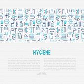 Hygiene concept with thin line icons: hand soap, shower, bathtub, toothpaste, razor, shaving brush, sanitary napkin, comb, ball deodorant, mouth rinse. Vector illustration for web page, print media. poster