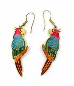 Two colorful vintage parrot earrings on a white background. poster