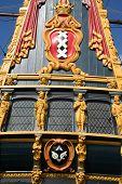 beautiful restaurated historic dutch ship in harbor - batavia poster