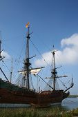 beautiful restaurated historic dutch ship in harbor - batavia poster