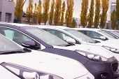 Cars For Sale Stock Lot Row. Car Dealer Inventory poster
