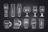 Beer glassware types. Poster or banner with different types of glass and mug for beer. Chalk graphic design on chalkboard. Poster for menu, bar, pub, restaurant, beer theme. Vector Illustration poster