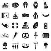 Calorie icons set. Simple set of 25 calorie vector icons for web isolated on white background poster
