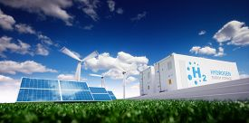 Ecology Energy Solution. Power To Gas Concept. Hydrogen Energy Storage With Renewable Energy Sources