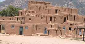 Adobe pueblo housing