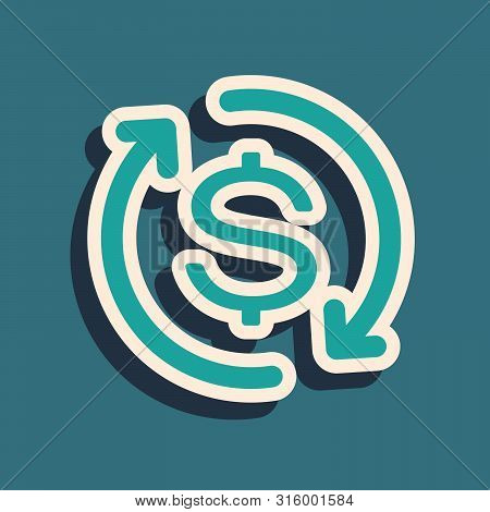 Green Return Of Investment Icon Isolated On Blue Background. Money Convert Icon. Refund Sign. Dollar