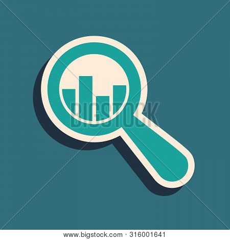 Green Magnifying Glass And Data Analysis Icon Isolated On Blue Background. Long Shadow Style. Vector