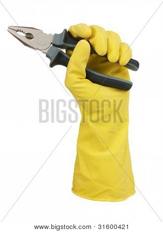 Hand In Yellow Glove Holding A Pair Of Pliers