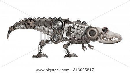 Steampunk style dinosaur. Mechanical animal photo compilation