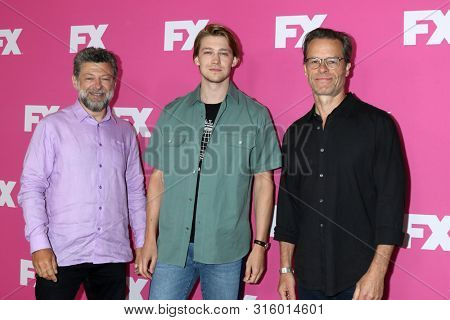 LOS ANGELES - AUG 6:  Andy Serkis, Joe Alwyn, Guy Pearce at the FX Networks Starwalk at Summer 2019 TCA at the Beverly Hilton Hotel on August 6, 2019 in Beverly Hills, CA