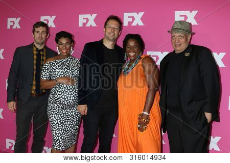 LOS ANGELES - AUG 6:  Carter Hudson, Angela Lewis, Dave Andron, Michael Hyatt, Walter Mosley at the FX Starwalk at Summer 2019 TCA at the Beverly Hilton Hotel on August 6, 2019 in Beverly Hills, CA